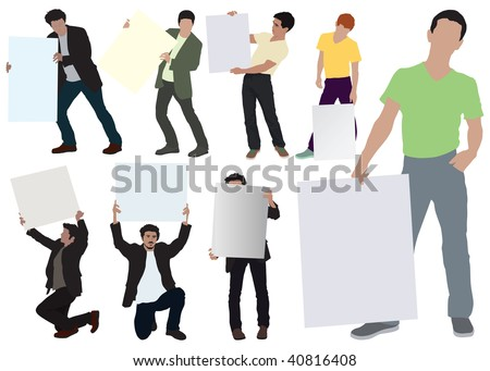 Young men showing empty boards. Color vector illustration on white. Eight separated poses. - stock vector
