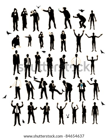 Young men silhouettes. A resident of the street, naked, businessman, supporter, graffiti.