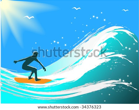 Young men surfing. Vector illustration