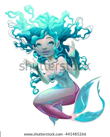 Young mermaid with white background. Vector isolated character. - stock vector