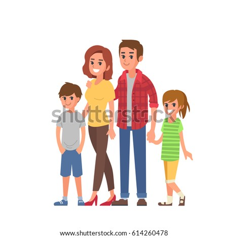 Young modern family portrait. Flat style vector illustration isolated on  white background.