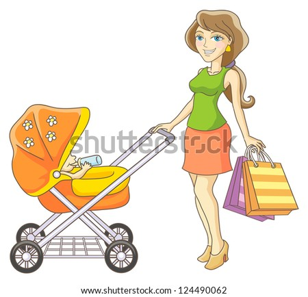 Young mother and baby stroller. Happy mother and her child went shopping. Vector illustration.