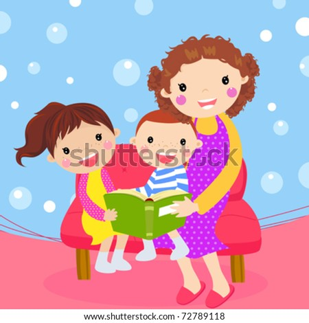 Young mother reading book to her children - stock vector
