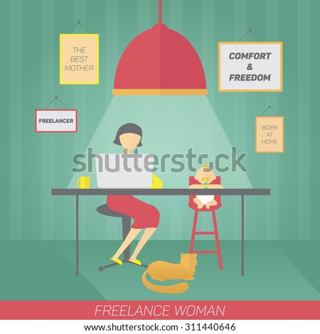 Young mother with child working at home. Freelance concept. - stock vector