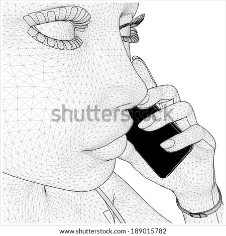 Young Network Woman Holding Mobile Telephone Vector 01  - stock vector
