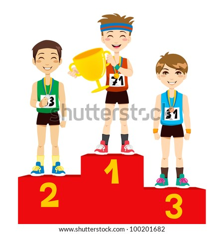 Young olympic sports men holding cup celebrating on the winners podium - stock vector