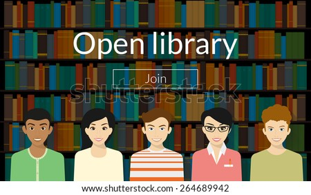 Young people are visiting a library. Text outlined.   - stock vector