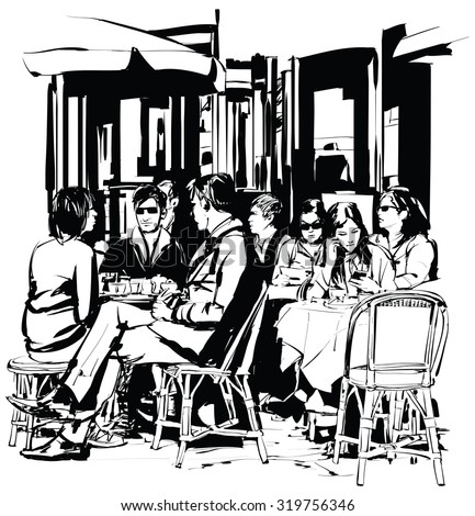 Young people at a cafe terrace after work - Vector-illustration