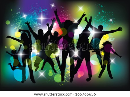 Young people dancing and jumping. Nightclub. - stock vector