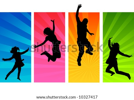 Young people having fun and being active - stock vector