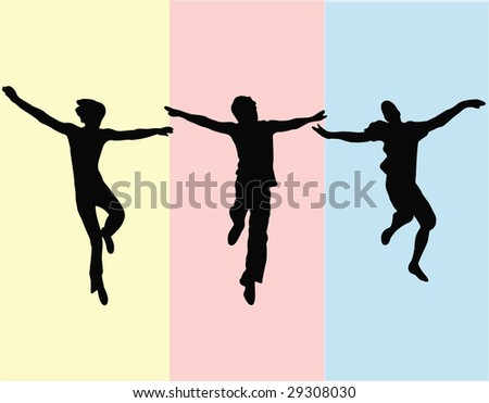 young people jumping vector - stock vector