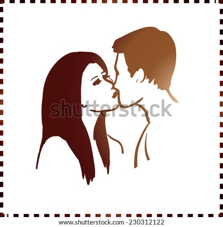young people kissing, vector sketch for your design - stock vector
