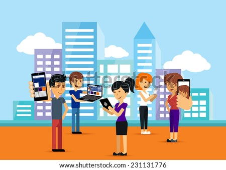 Young people man and woman using technology gadget smartphone mobile phone tablet pc laptop computer in social network communication concept on city town background flat design cartoon style copyspace - stock vector