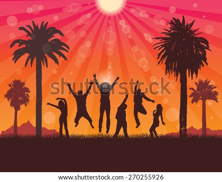 Young People  on the Holiday in Tropic . Summer Party . Vector Travel and Tourism Background.