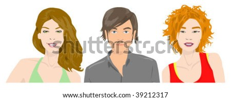 Young people portraits - stock vector