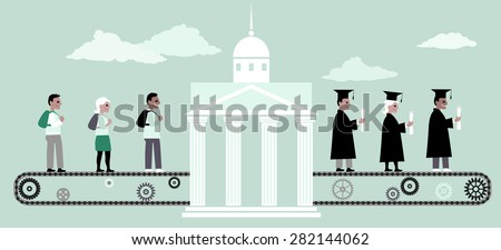 Young people riding a conveyor belt to the university building, from the other side people in graduation caps and capes coming out of it, vector illustration, no transparencies, EPS 8 - stock vector
