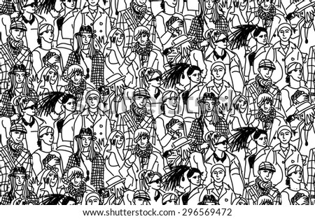 Young people seamless pattern group monochrome. Happy people in large group. Wallpaper black and white vector illustration - stock vector