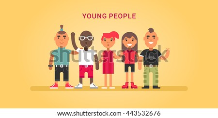 Young people, teens, friends, hipsters. Colored flat vector illustration on yellow background. - stock vector