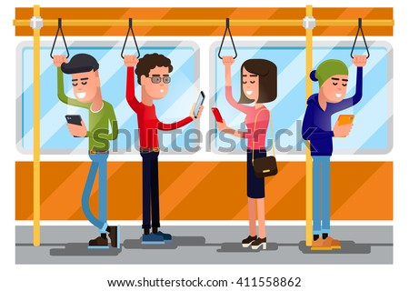 Young people using smartphone socializing in public transport. Vector concept background. Smartphone in transport,  using smartphone public, smartphone in train illustration - stock vector