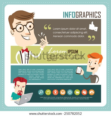 Young people using technology gadget, smartphone, laptop computer in communication concept. - stock vector
