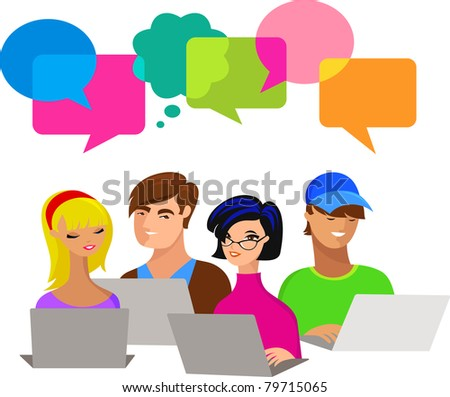 young people with speech bubbles and computers - stock vector