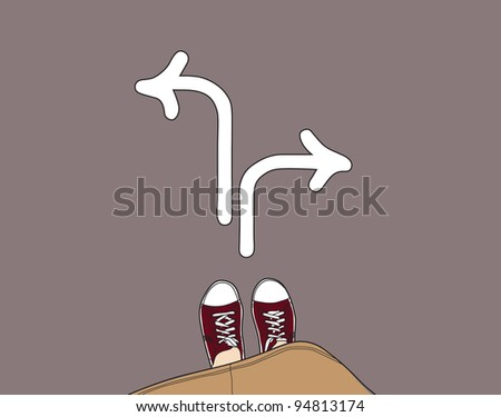 young person standing at the crossroad, choosing right direction - stock vector