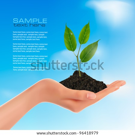 Young plant in hand.  Vector illustration - stock vector