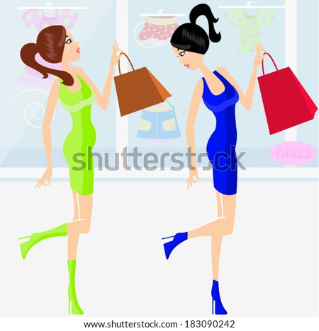 Young pregnant woman and her friend look at shop windows/ Young pregnant woman - stock vector