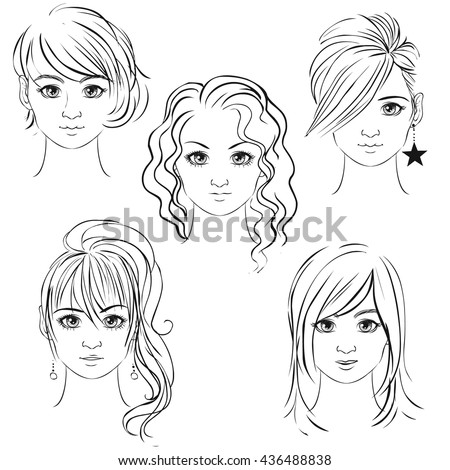 Young Pretty Girls Hand Drawn In Anime Style Vector Illustration