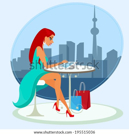 Young pretty woman reading news of social networking in the cafe. Close-up vector illustration. - stock vector