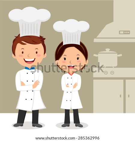 Young professional chefs. Chefs with arms crossed. - stock vector