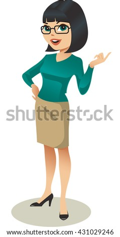 Young professional woman in glasses. Vector illustration