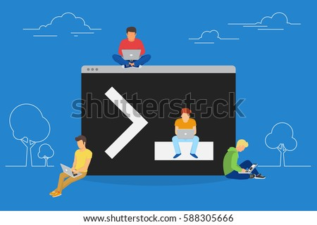 Young programmers coding a new project sitting near console on symbol of command line. Flat modern vector illustration of young programmer coding a new project using computer and developing script
