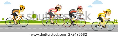 Young racing bicyclists people on bikes on panoramic background in flat style - stock vector