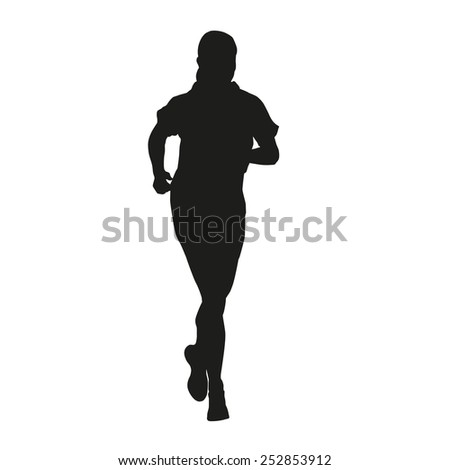 Young running woman - stock vector