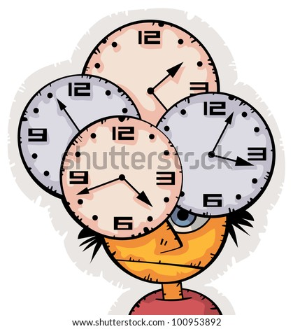 Young sad student is exhausted worrying about the lack of time before exam. Big clocks surrounding his head - stock vector