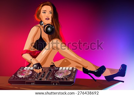 Young sexy woman dj playing music. - stock vector