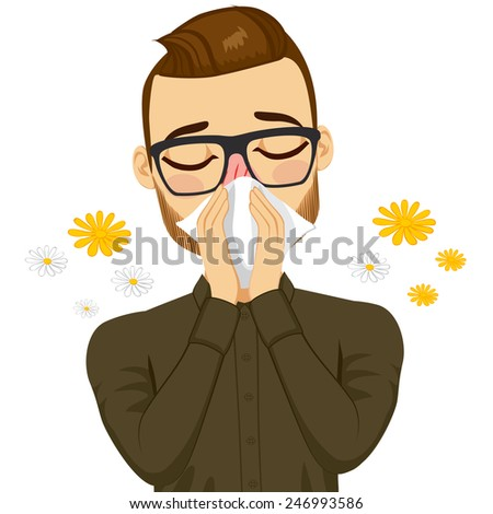 Young sick man ill suffering spring allergy using white tissue on nose - stock vector