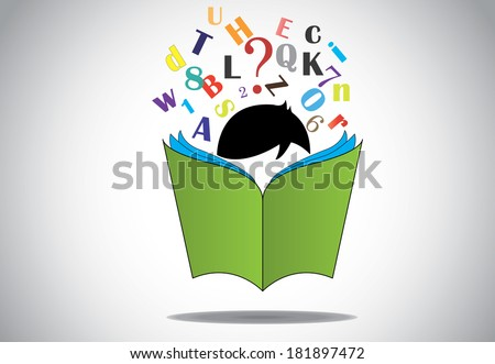 young smart boy kid reading 3d green open book education concept. black haired child with book studying & learning for exams & fun with alphabets and numbers. learn or educate vector illustration art - stock vector