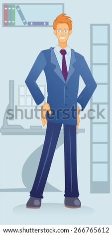 young smart smiling white-collar men standing in the office - stock vector