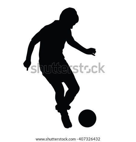 Young soccer player passes the ball silhouette, kid plays soccer or football. Front view. Football player is taking off with the ball - stock vector