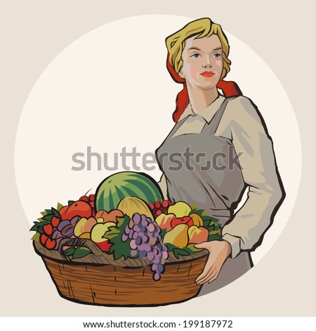 Young Soviet student girl holding a basket with a rich harvest of fruit and berries vector illustration - stock vector