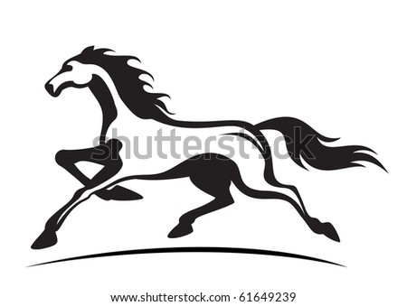 young stallion running - stock vector
