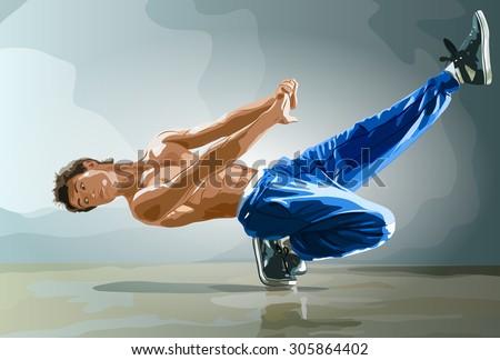 Young strong man break dance. - stock vector