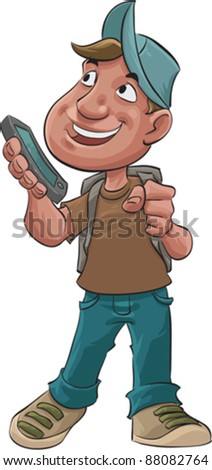 young student with a new smart phone is his hand - stock vector