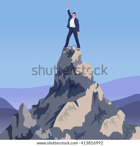 Young Successful businessman winner standing on peak mountain. Going to the top. - stock vector