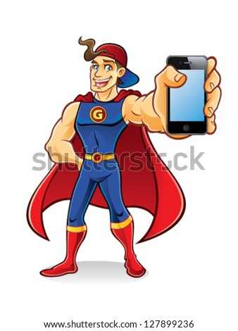 young superhero with tuft of hair stands brandishing an smart phone to the audience wearing hats and cape - stock vector