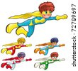 Young superheroes. Funny cartoon and vector characters. Isolated objects - stock photo