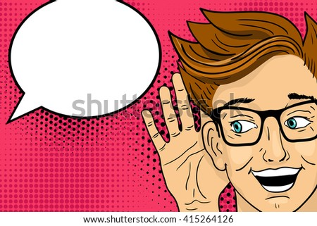 Young surprised  happy man listening with open mouth. Vector illustration in retro pop art comic style. - stock vector