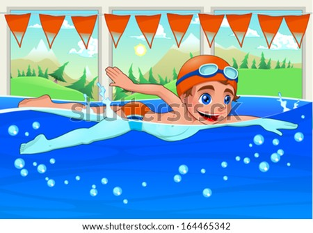 Young swimmer in the swimming pool. Funny cartoon and vector illustration. - stock vector